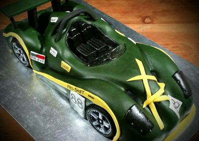 Racing car £250. Chocolate sponge with chocolate ganache