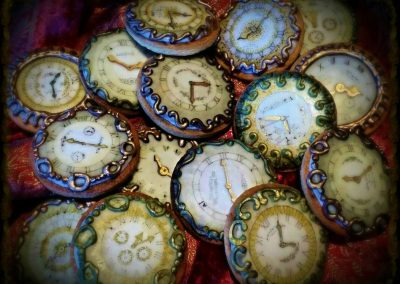 Steam Punk Biscuits (from) £3 each. Ginger biscuits, royal iced and hand painted as Steam Punk style Watches.