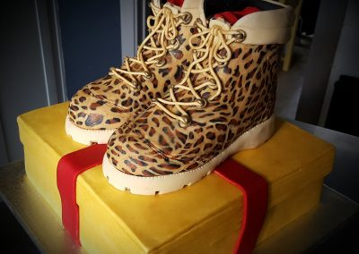 Walking Boots Cake. Boots and box in dark chocolate sponge, covered with fondant. £285