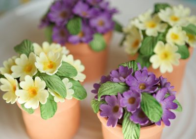 Flower pots. Tiny chocolate cakes covered in marzipan 'terracotta' with fondant flowers.