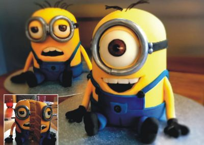 Minions Cakes (each) £185.Two minions... One in coffee cake, and one in vanilla.